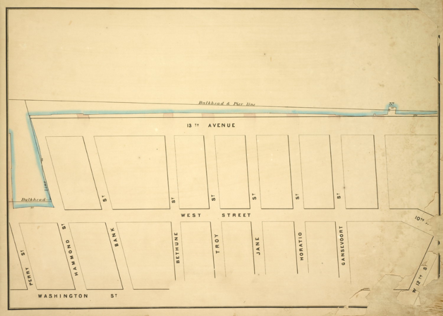 Map of 13th Avenue in 1860