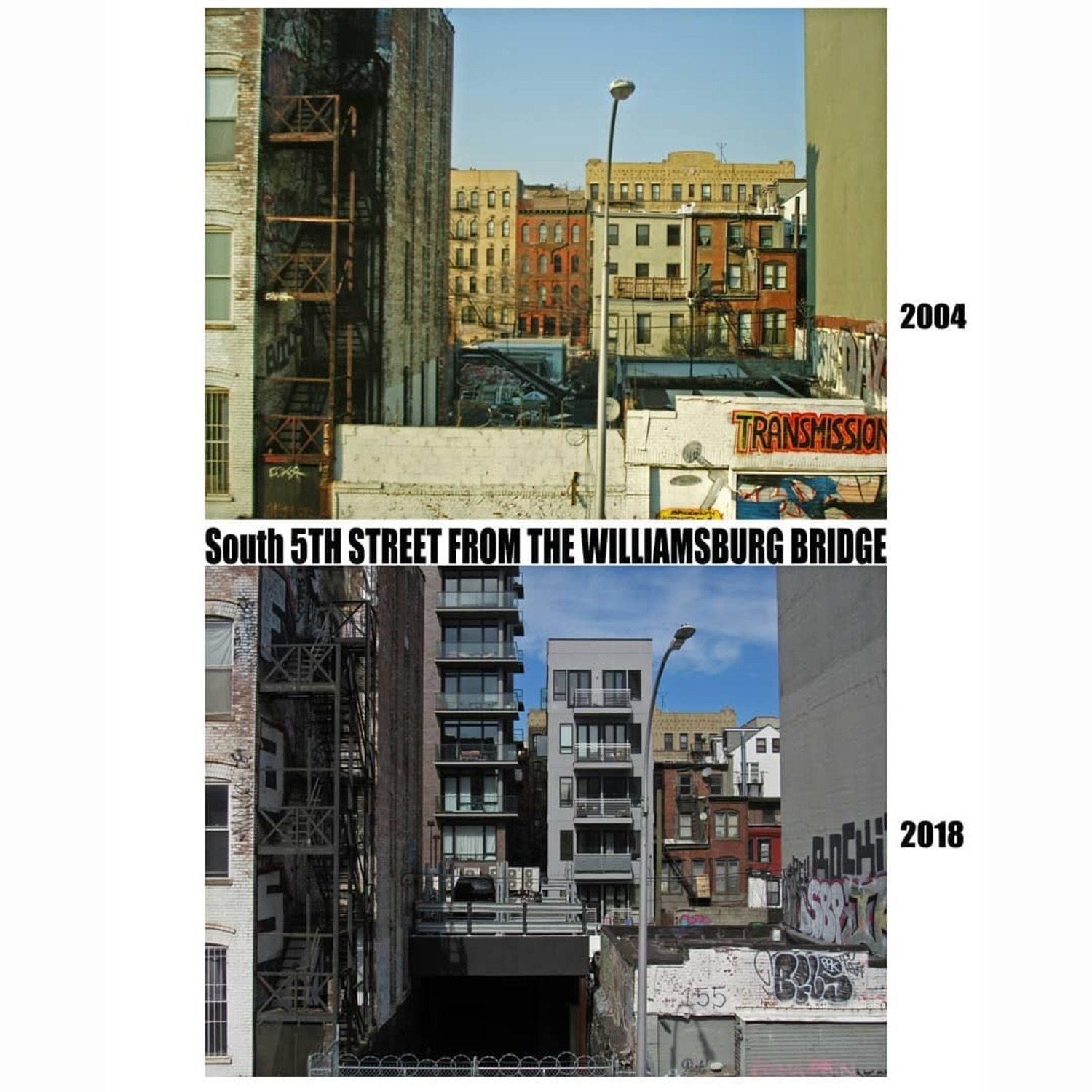 South 5th Street from the Williamsburg Bridge  2004 / 2018  #williamsburgbrooklyn #williamsburg #williamsburgbridge #brooklyn #nyc #newyorkcity #buildings #beforeandafter #thenandnow #nostalgia #nostalgic #oldbuildings #newbuildings #graffiti #graffitiart #transmission #fireescapes #disappearingnyc #disappearing #nygritty #city #grittycity #gentrification #neighborhood #BKLYN #11211 #signage #brooklynhistory #condos #apartment