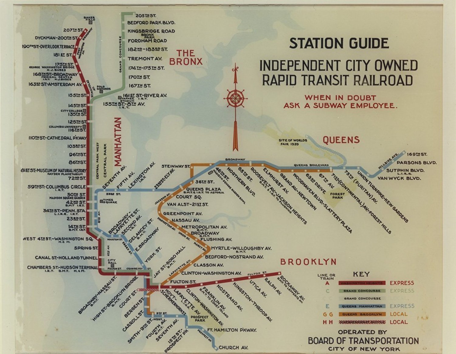 IND station guide from 1938