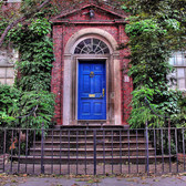 behind the blue door   townhouse door at 57th street and 1st avenue - manhattan, nyc