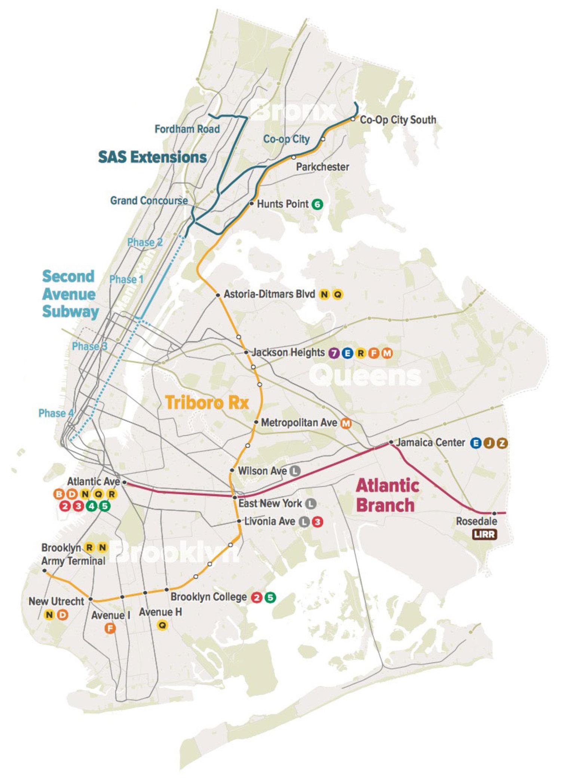 Regional Plan Association's Proposed Triboro Rx Subway Line
