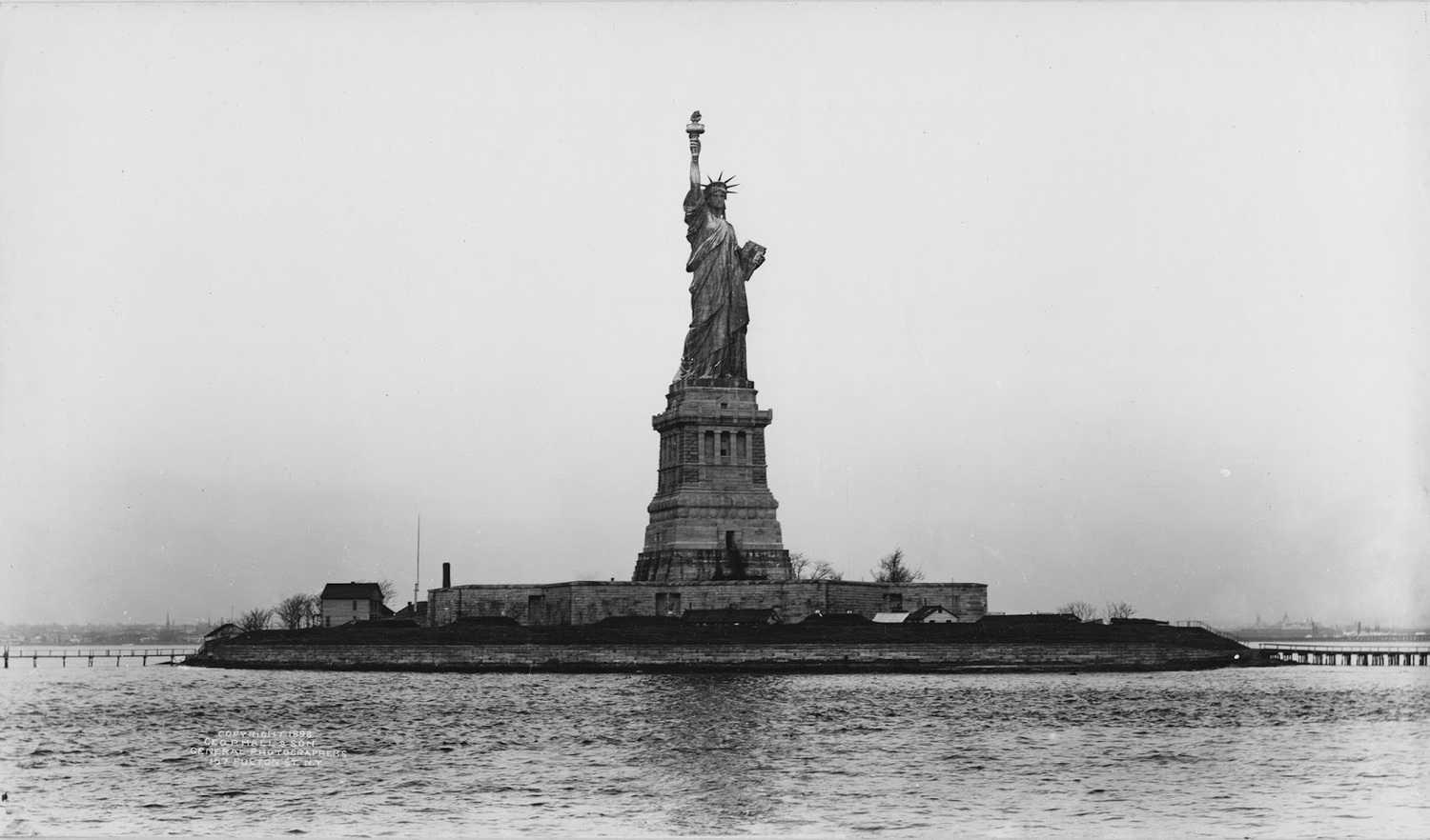 The Statue of Liberty seen on Liberty Island in New York Harbor, about a decade after her arrival, in 1898.