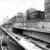 The construction of the BQE and the Brooklyn Heights Promenade, 1948.