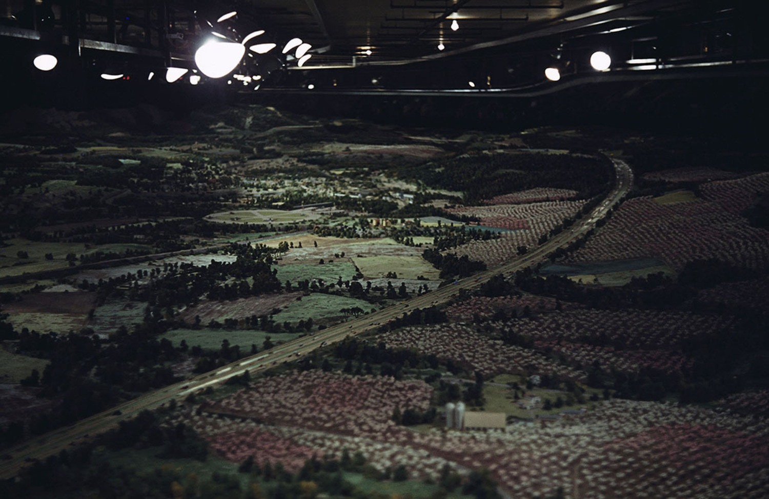 """A detail of the """"Futurama"""" model in the General Motors Pavilion. The exhibit was designed by Norman Bel Geddes."""