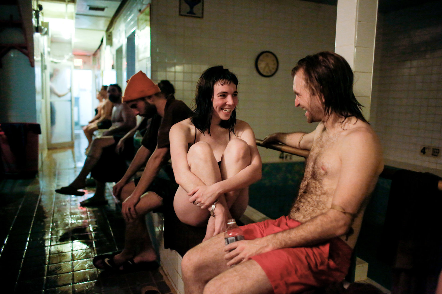 Sophia Giovannetti, 23, and Michael Swellander, 29, chatting between baths.