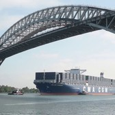See the largest capacity container ship to visit the U.S. East Coast go under the Bayonne Bridge