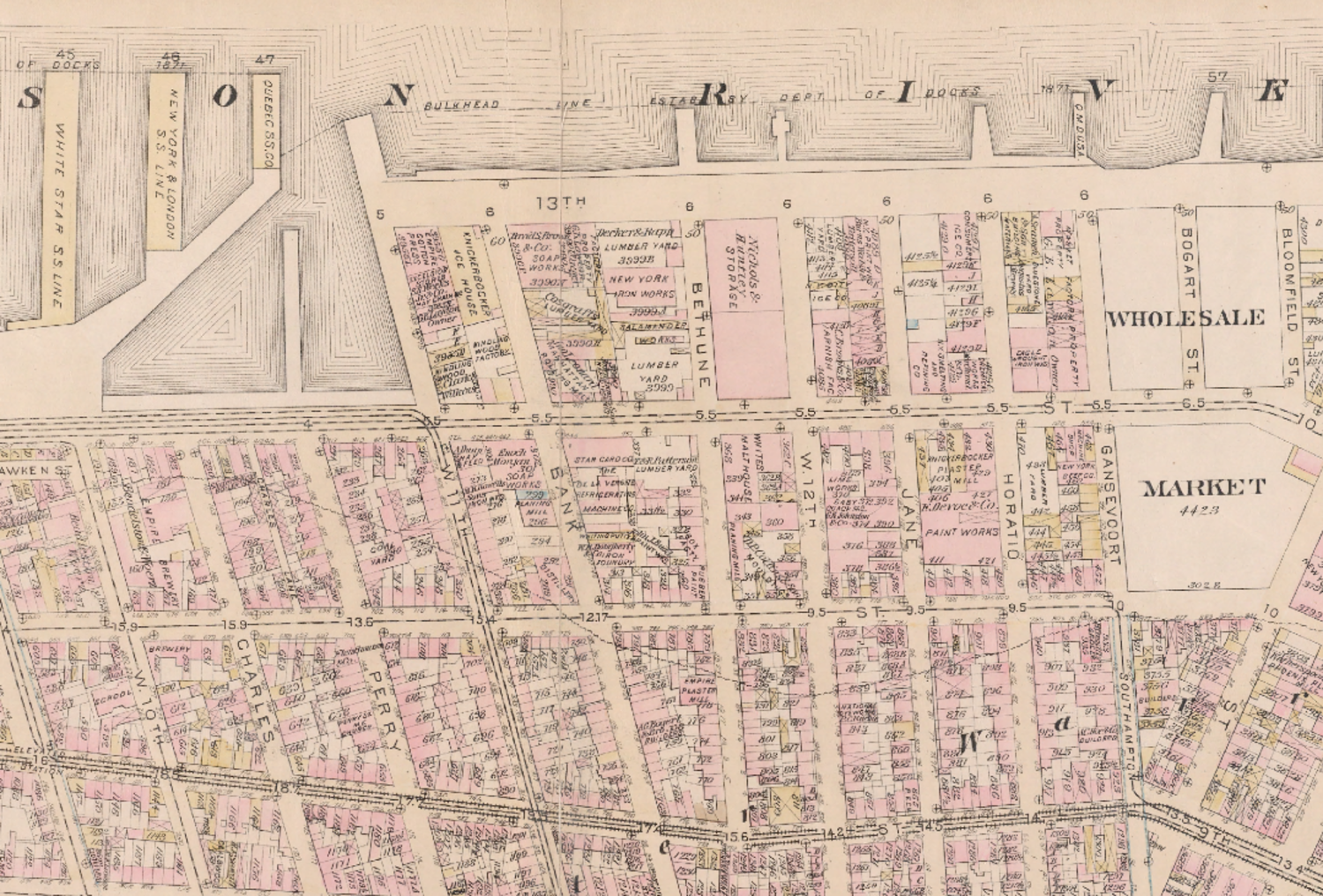 Detail of an 1885 map showing 13th Avenue