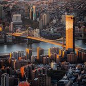 sunrise over Manhattan Bridge, New York, New York