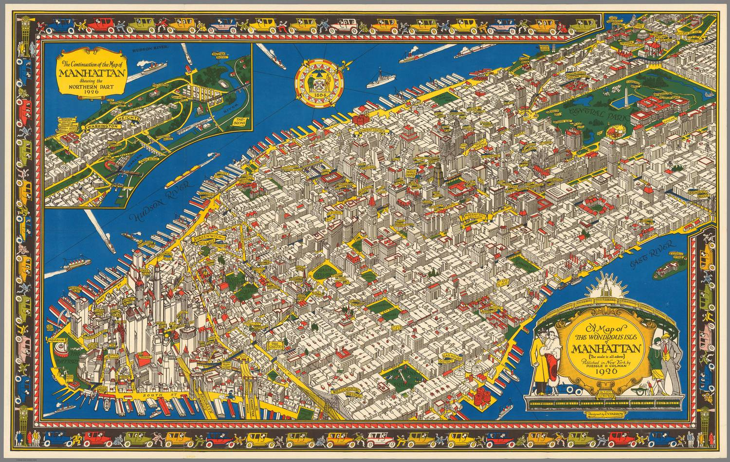 amazing illustrated vintage map showing the wondrous isle of manhattan in 1926 viewing nyc