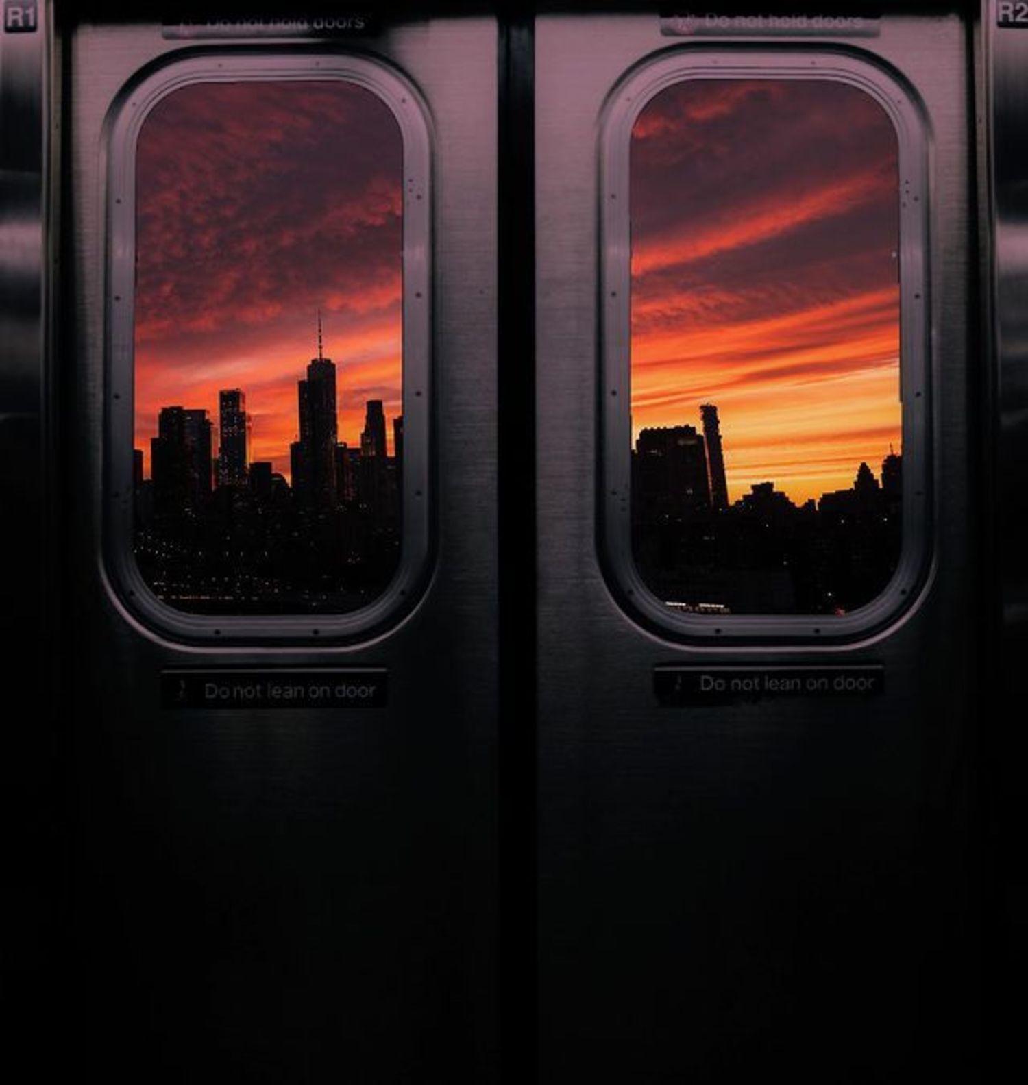 Sunset over Lower Manhattan from Q Train, Manhattan Bridge