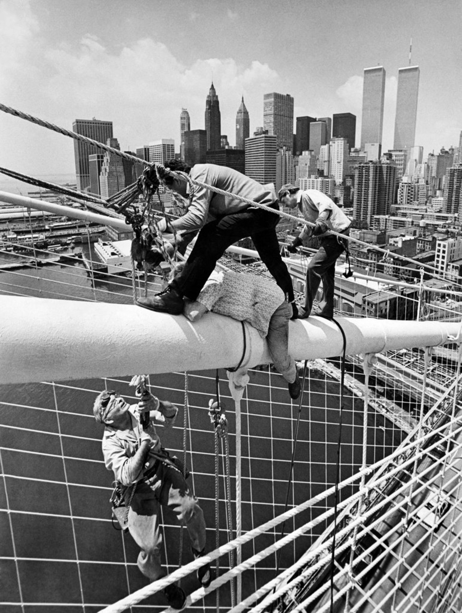 Vintage Photograph of Ironworkers Fixing a Snapped Cable Up High on the Brooklyn Bridge, 1981