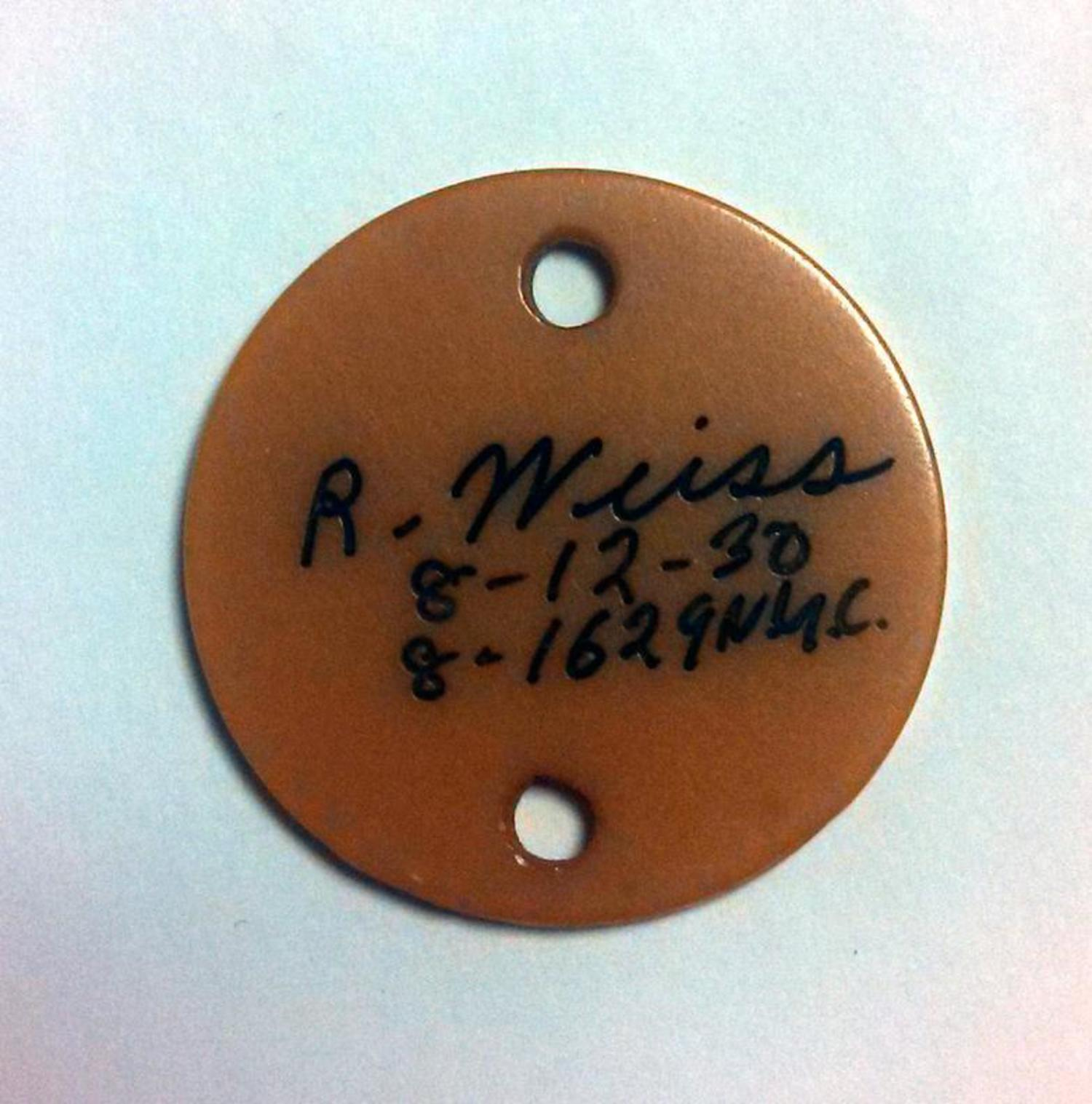 WWII student identification tag