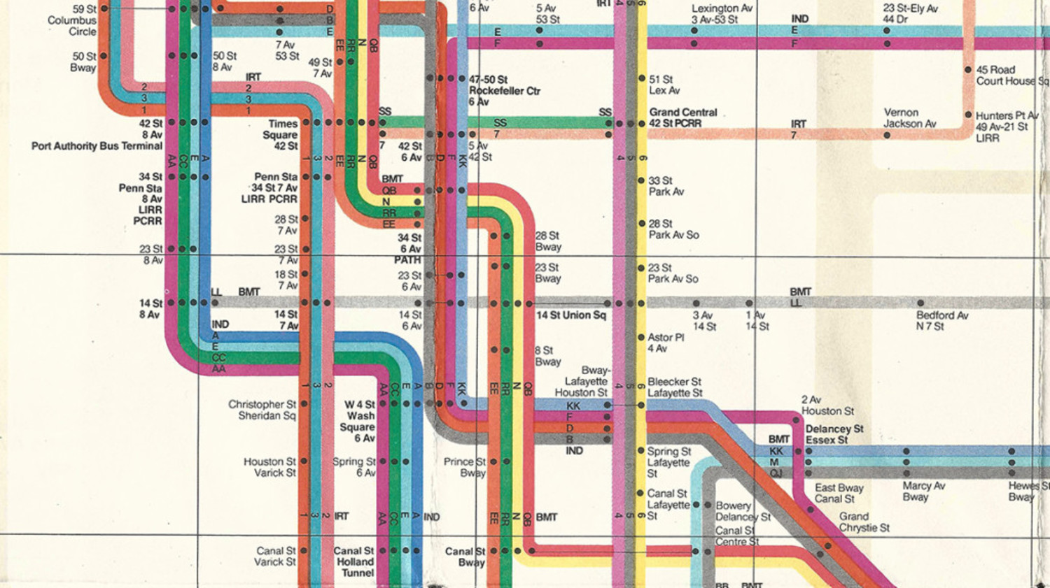 In 1972, Massimo Vignelli's famous, streamlined, version of the map debuted.