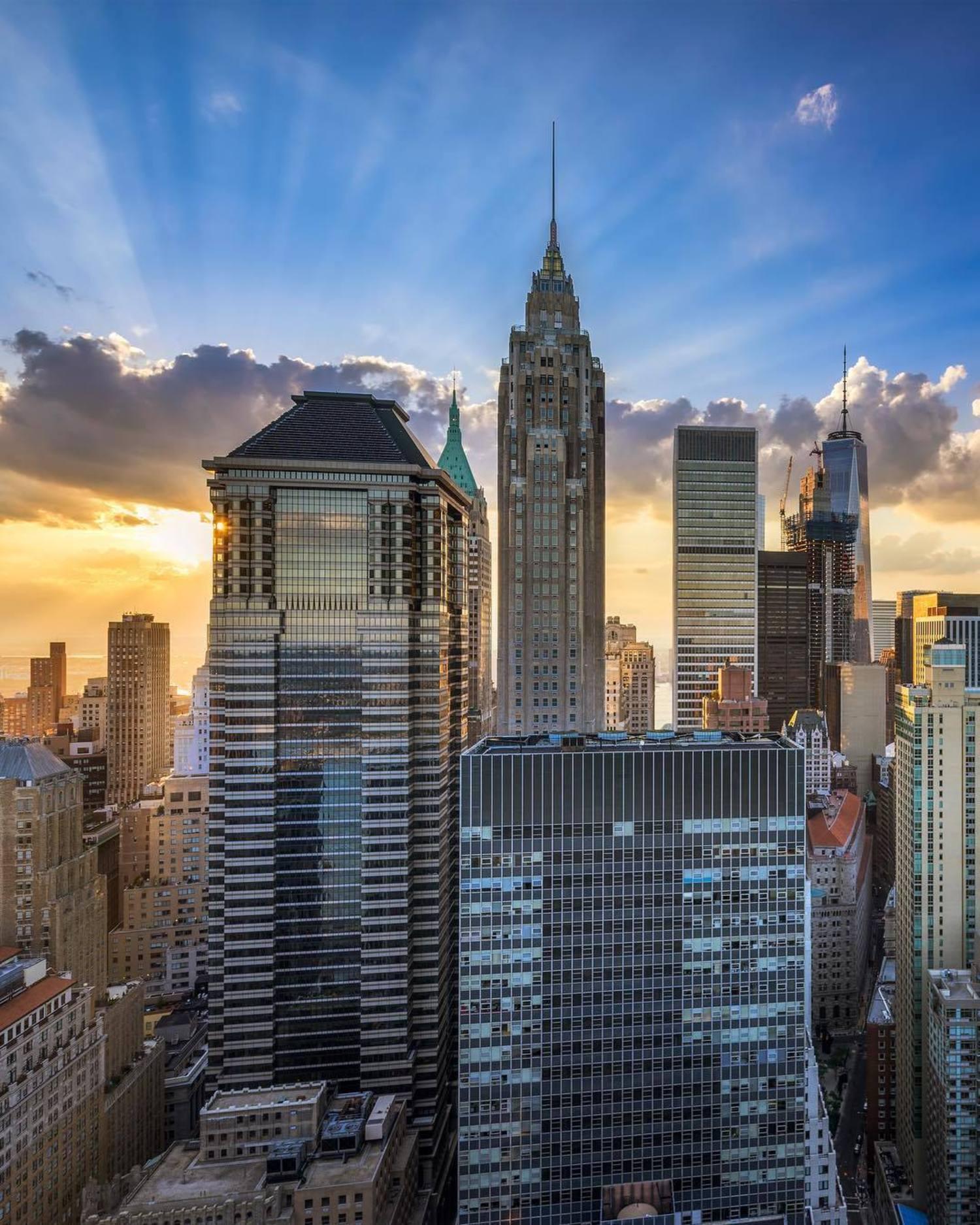 Sunset over Financial District, Manhattan