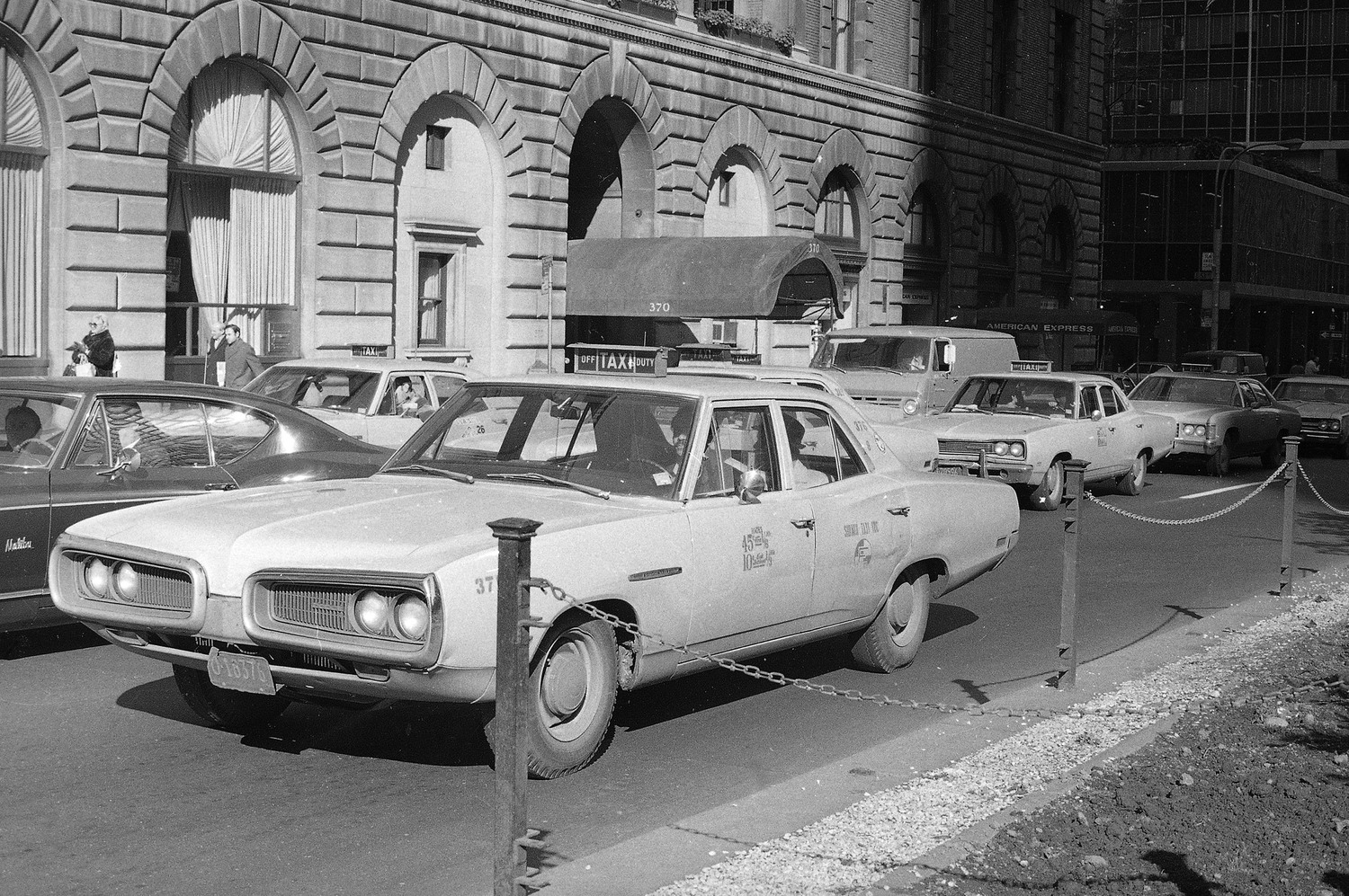 Taxis are seen in mid-Manhattan, New York, Nov. 17, 1970.