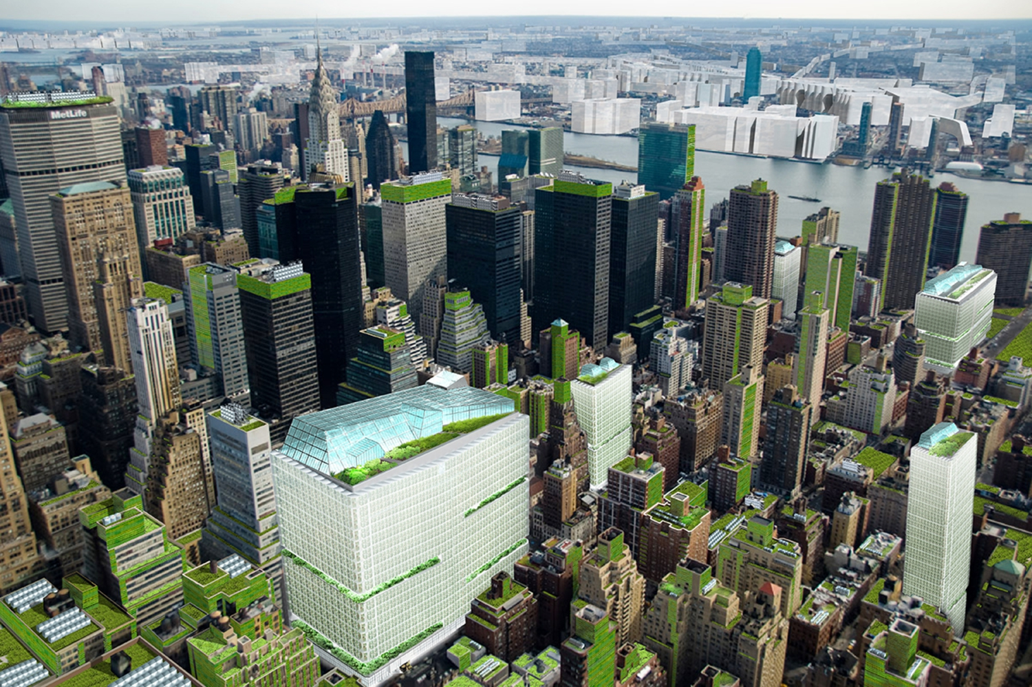 Vertical farms in mid-town Manhattan to produce food for 30,000 people.