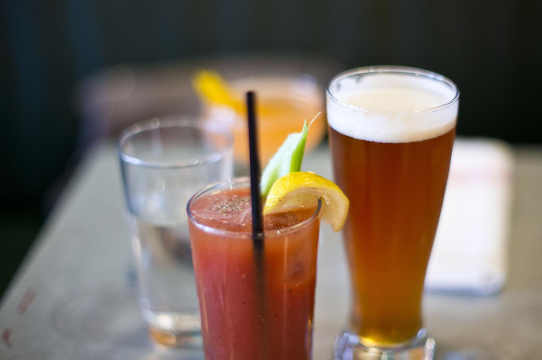 "ACME (Brunch) - drinks   Fair Lady (aperol, gin, lemon, st germain, honey, orange bitters, champagn"", Bloody Mary, IPA chaser"
