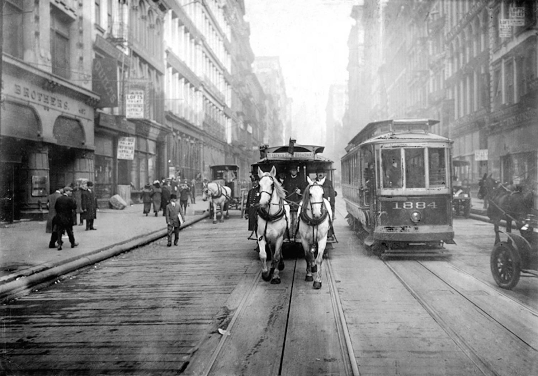 The last days of horse-cars in Manhattan, c. 1917, public domain archival image