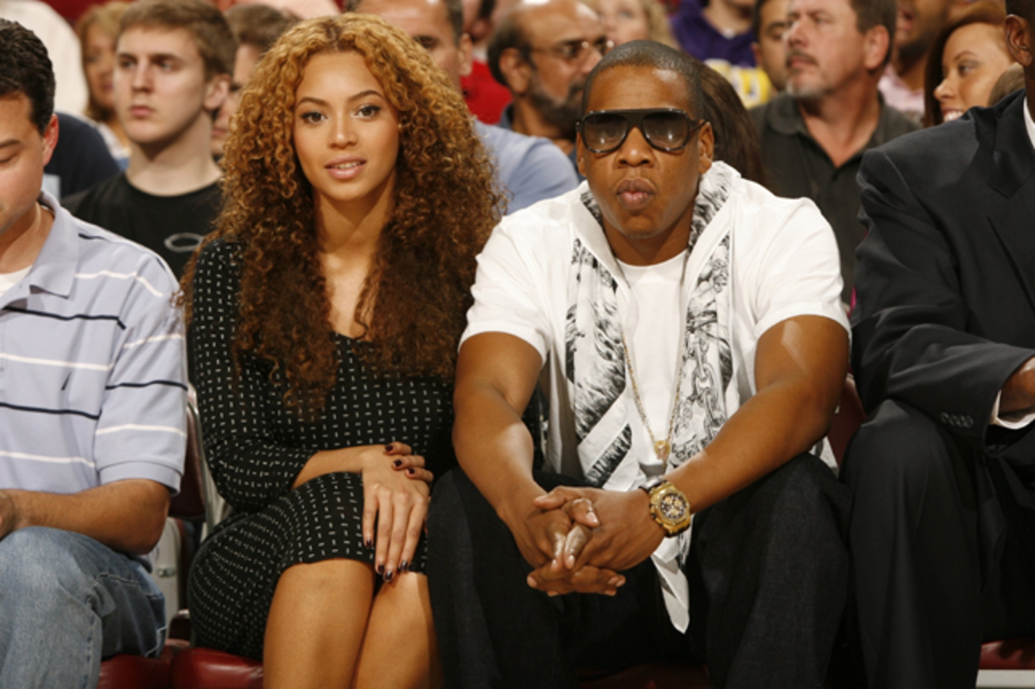 Beyonce & Jay-Z | Beyonce and Jay-Z at the Houston Rockets vs. Phoenix Suns game in Houston on April 11.