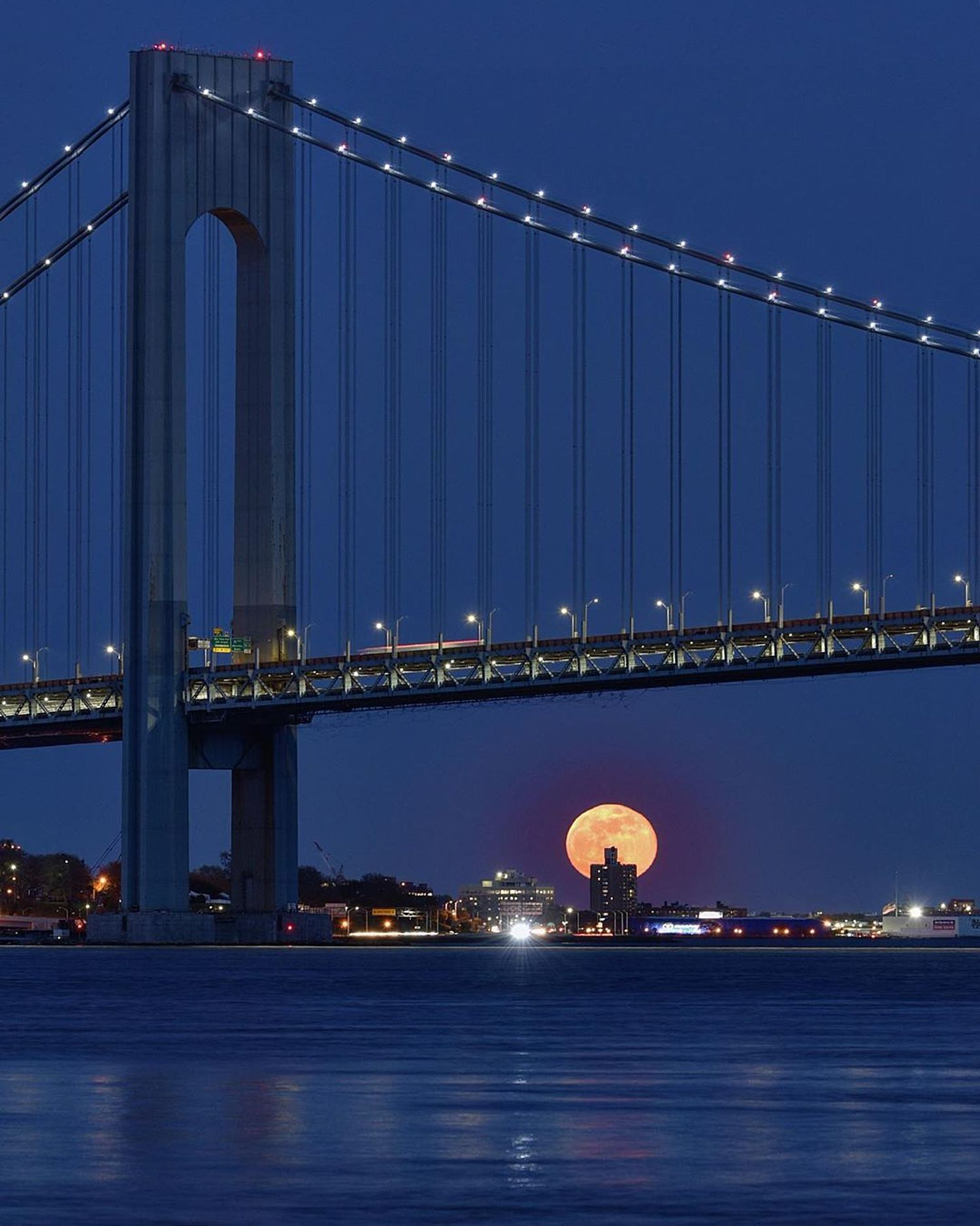 Moonrise and the Verrazano-Narrows Bridge, New York