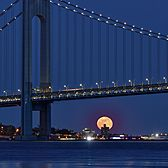 Moonrise and the Verrazano-Narrows Bridge, New York