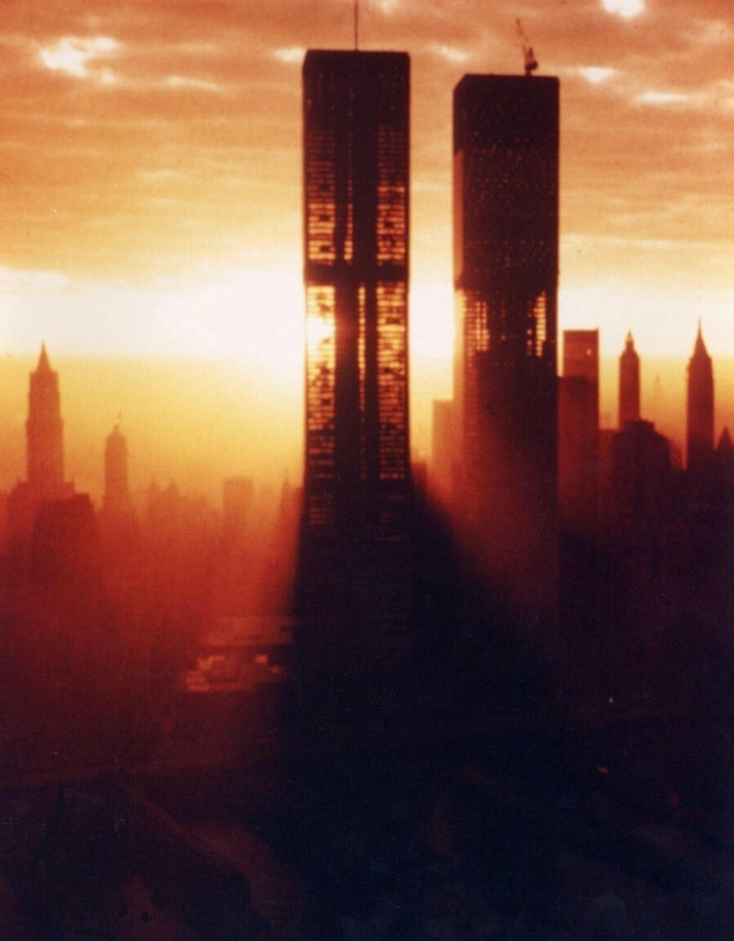 Sun shining through the World Trade Centers, 1972