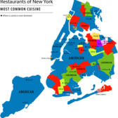 Most Common Cuisine found around New York City