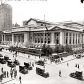 The New York Public Library as seen from the intersection of East 42nd Street and Fifth Avenue. July 14, 1915