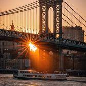 Sunset Behind Manhattan Bridge, New York