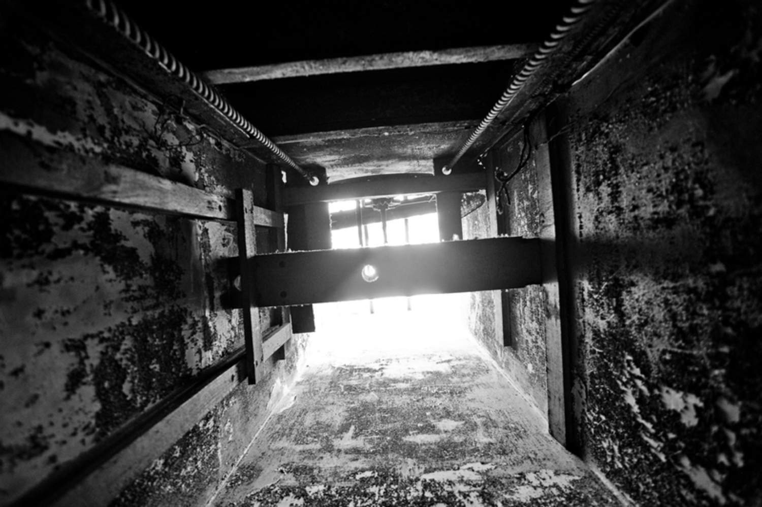 Death chute (also known as a dumbwaiter shaft) looking up.