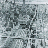 """One of a few failed urban highways conceived by Robert Moses, the 1941 plans for a mid-Manhattan expressway would have """"cut out a swath of 30th Street on its route eastward, past the old Pennsylvania Station and the Empire State Building."""""""