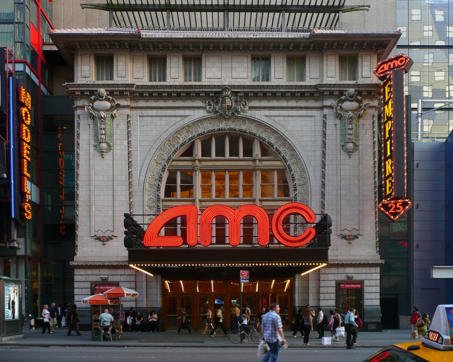 "AMC | The Empire Theatre was designed by architect Thomas W. Lamb and opened in 1912 as the Eltinge 42nd Street Theater. Here's a historic view: <a href=""http://www.flickr.com/photos/woody1969/5068941189/"">www.flickr.com/photos/woody1969/5068941189/</a> It was converted into a movie theater in 1942 and renamed the Laff and then was renamed the Empire in 1954 and finally closed in the 1980s. It reemerged as a 25-screen megaplex run by AMC which opened in 2001. Interesting the entire theater was moved 200 feet to allow for the construction of the new AMC movie theaters."