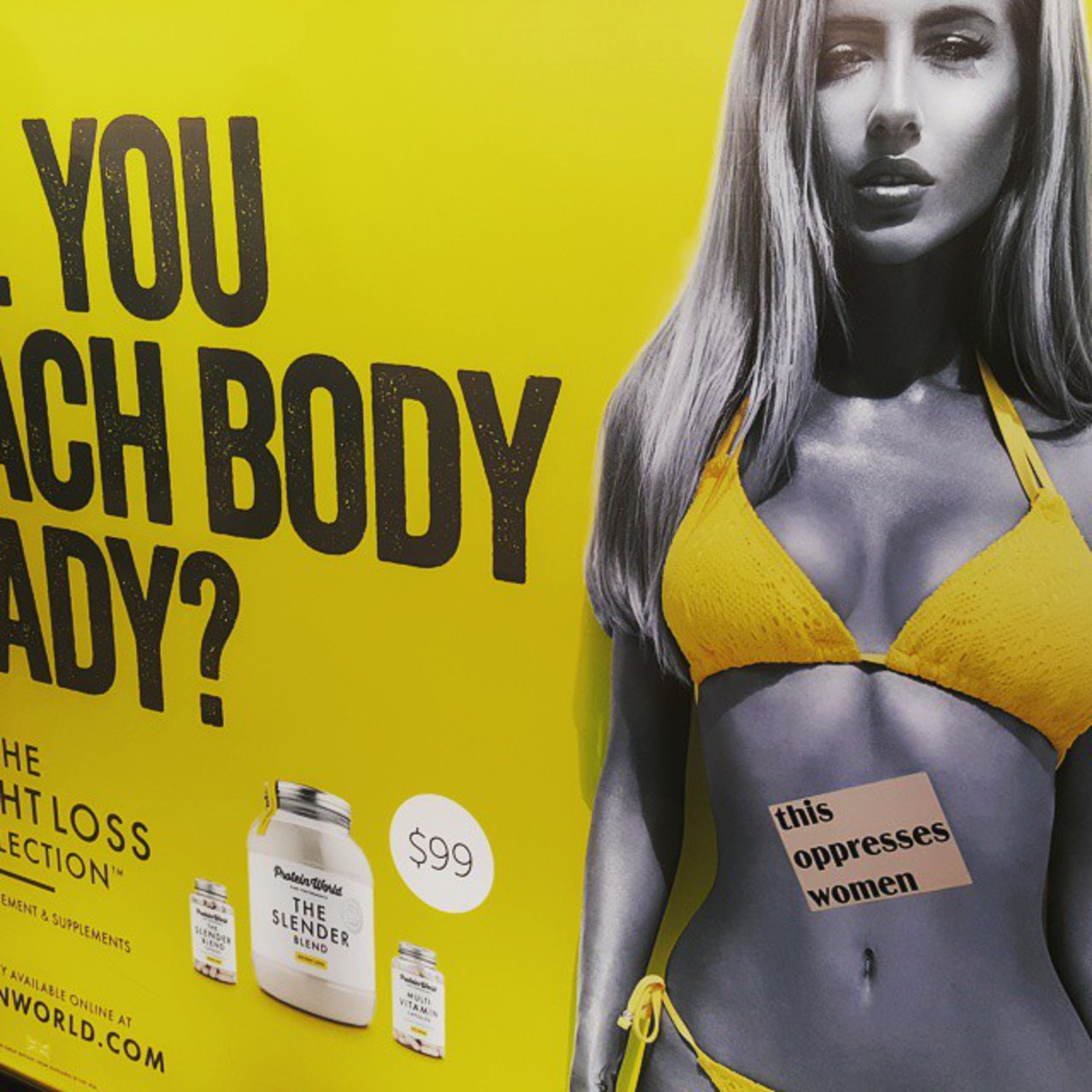 No one looks like that. Not even her. #thisoppresseswomen #beachbody #bikinibody #beach #bikini #women #feminism