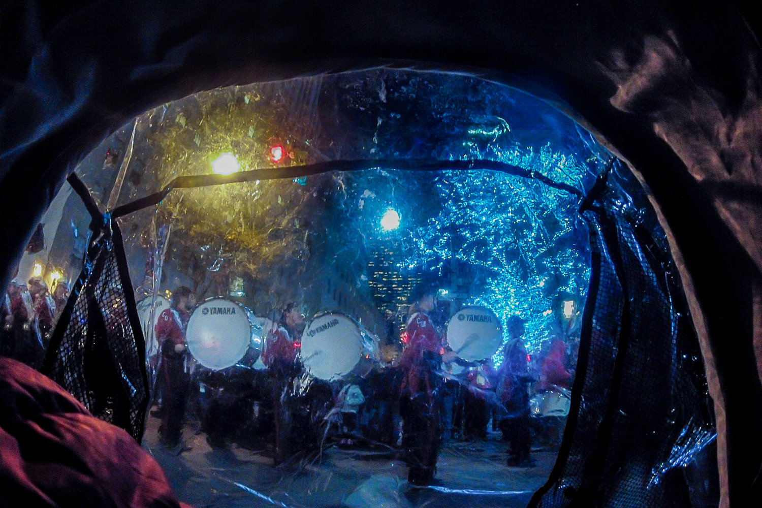 At Rockefeller Center for the first time, when a marching band appeared suddenly.