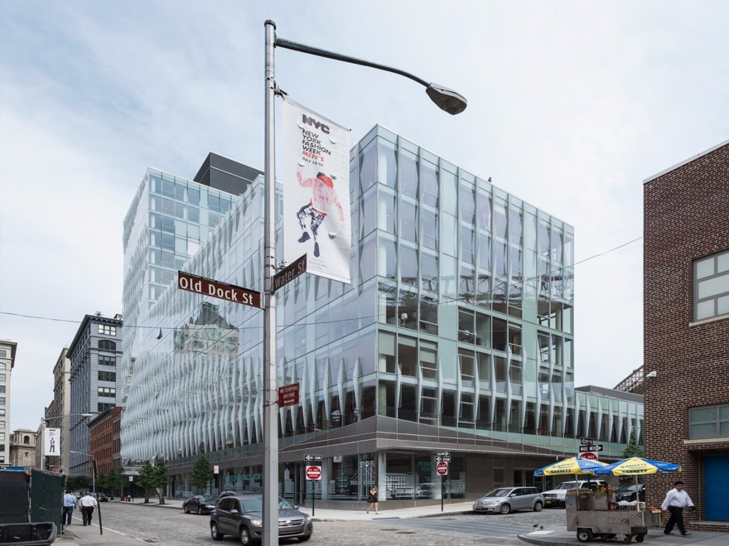 Gaze upon 60 Water Street, the most expensive rental building in Brooklyn. Its glassy exterior separates it from Dumbo's typical post-industrial architectural style.