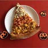Introducing The Candy Corn Slice! Three tiers of chicken: Ranch, Buffalo and Honey Mustard! with Mozzarella Cheese and topped with extra sauce of each! Today's Special at Vinnie's Greenpoint #candycorn #halloween #vinniesbrooklyn #pizza #candycornpizza #greenpoint #todaysspecials #foodporn