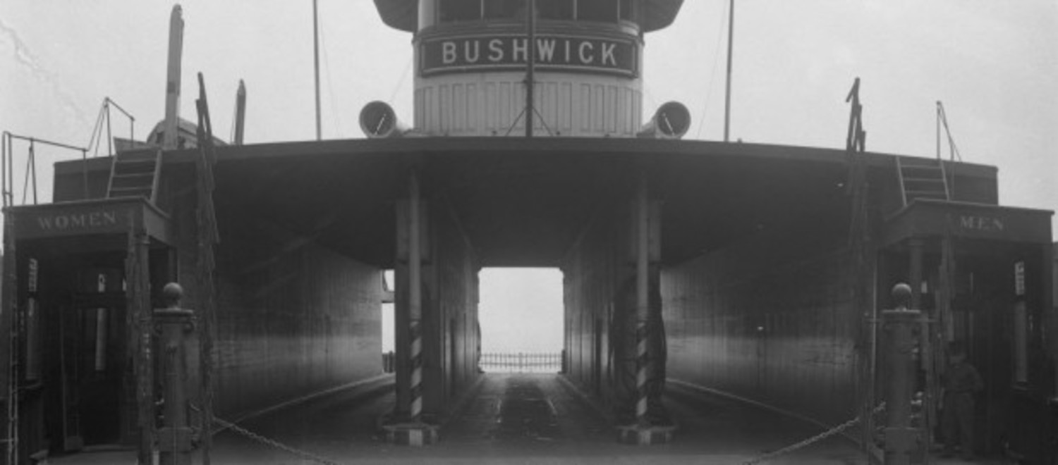 The main deck of the ferry boat Bushwick, St. George, circa 1936.