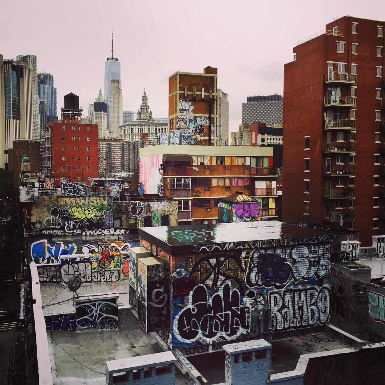 Two Bridges neighborhood as seen from Manhattan Bridge