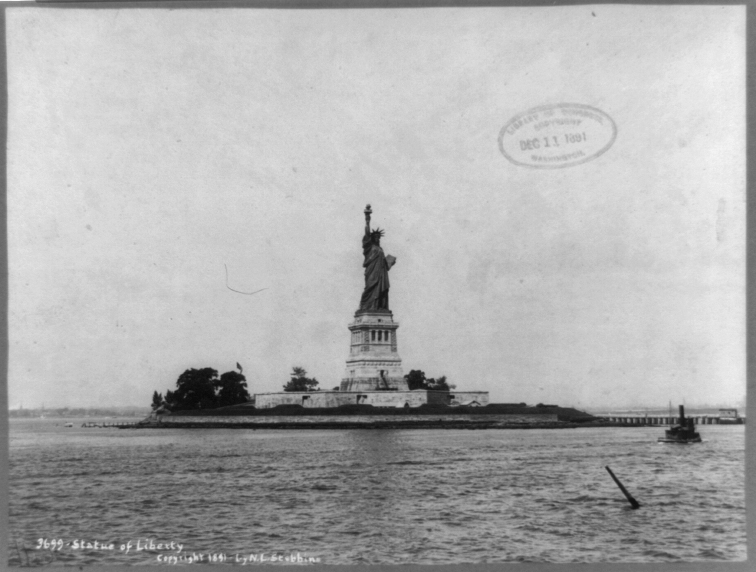 Statue of Liberty and New York Harbor, ca. 1891.