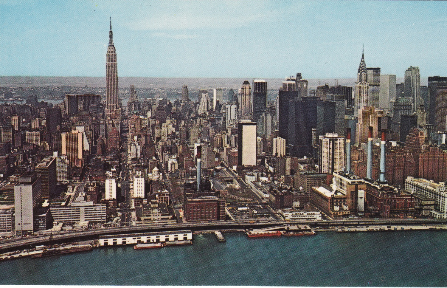 Looking west in 1965 you can see that nothing challenges the Empire State Building in terms of dominance of height