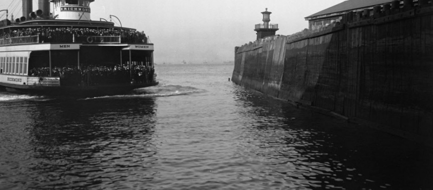 The ferry boat Richmond entering the slip at St. George, circa 1921.