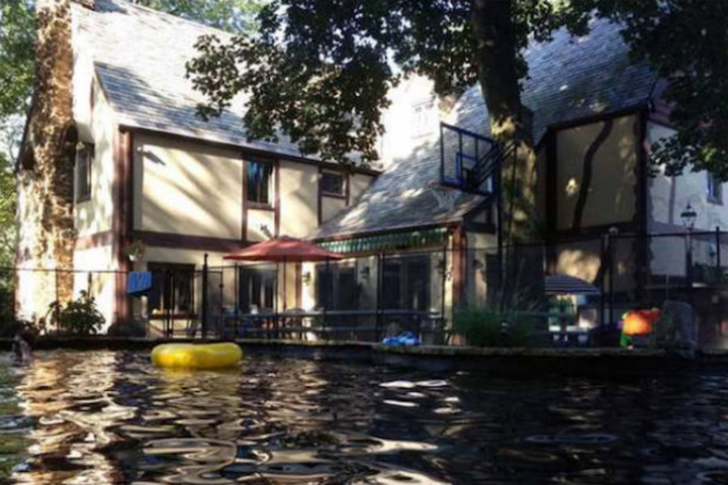 While the exterior of the home remains unchanged since it was used in the film, owners added a saltwater pool to the backyard.