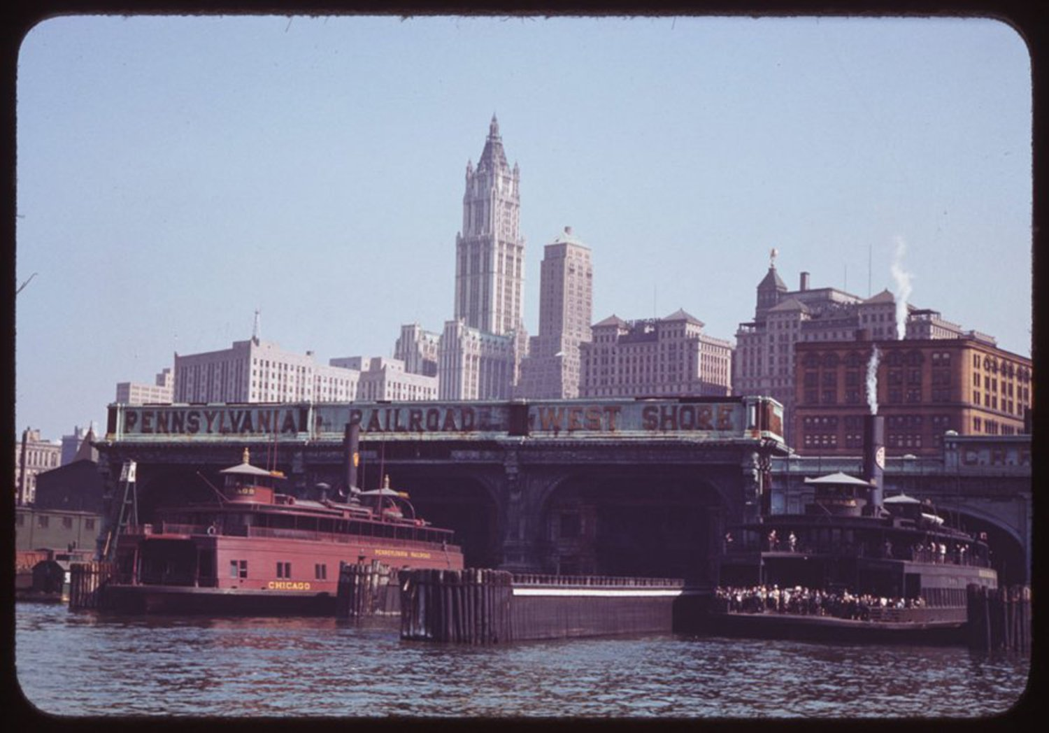 Cushman took this from onboard a ferry that was approaching Liberty Street in September 1941.