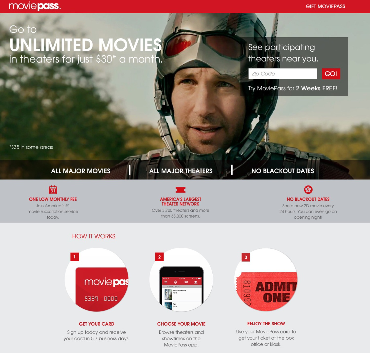 Moviepass Offers Unlimited Movies in Theaters for Just $35 a Month
