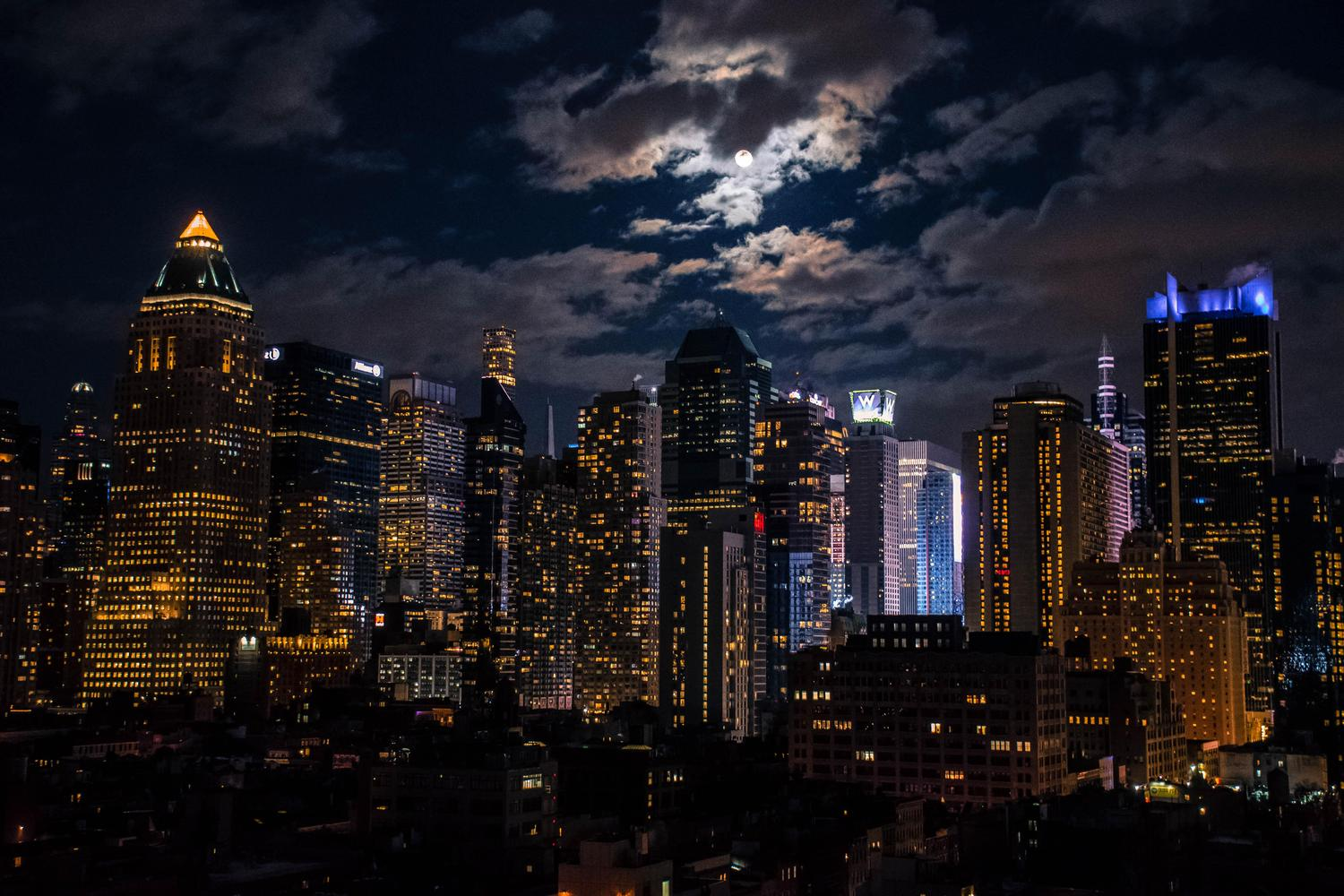 The moon over Midtown last night.