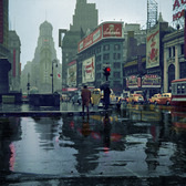 Times Square on a Rainy Day 1943, colorized