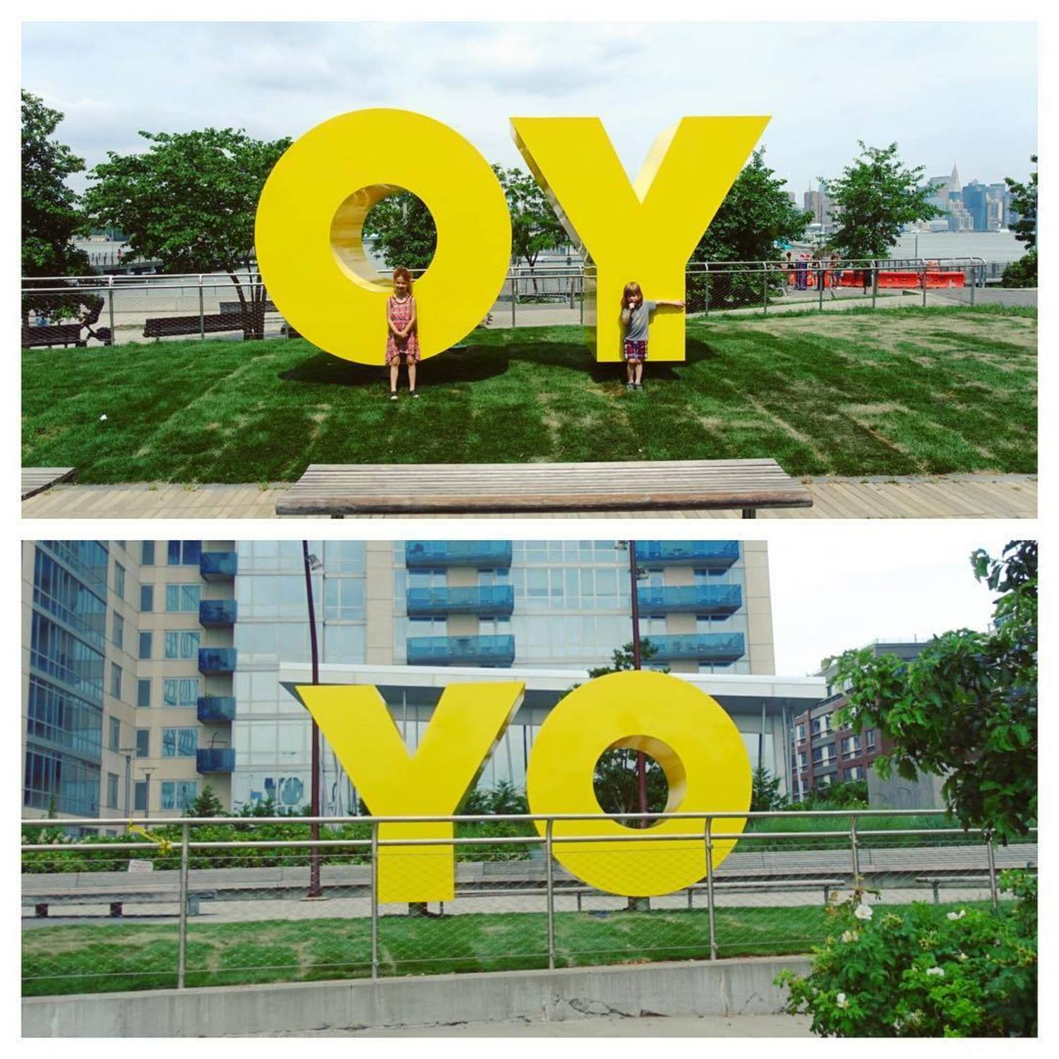 #oy #yo #williamsburg #deborahkass @debkass #williamsburgwaterfront #ferry #nyc #publicart #yellow #instakids