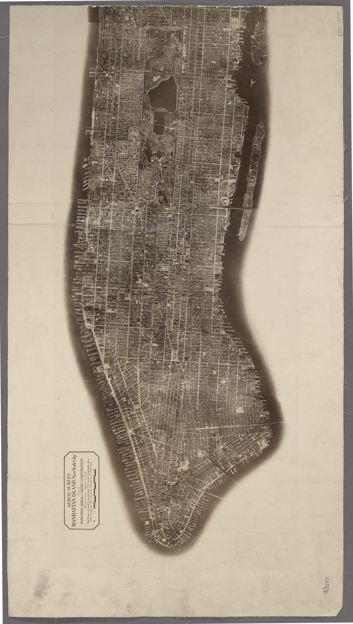Aerial Survey. Manhattan Island, New York City. Made by Fairchild Aerial Camera Corporation. August 4, 1921.
