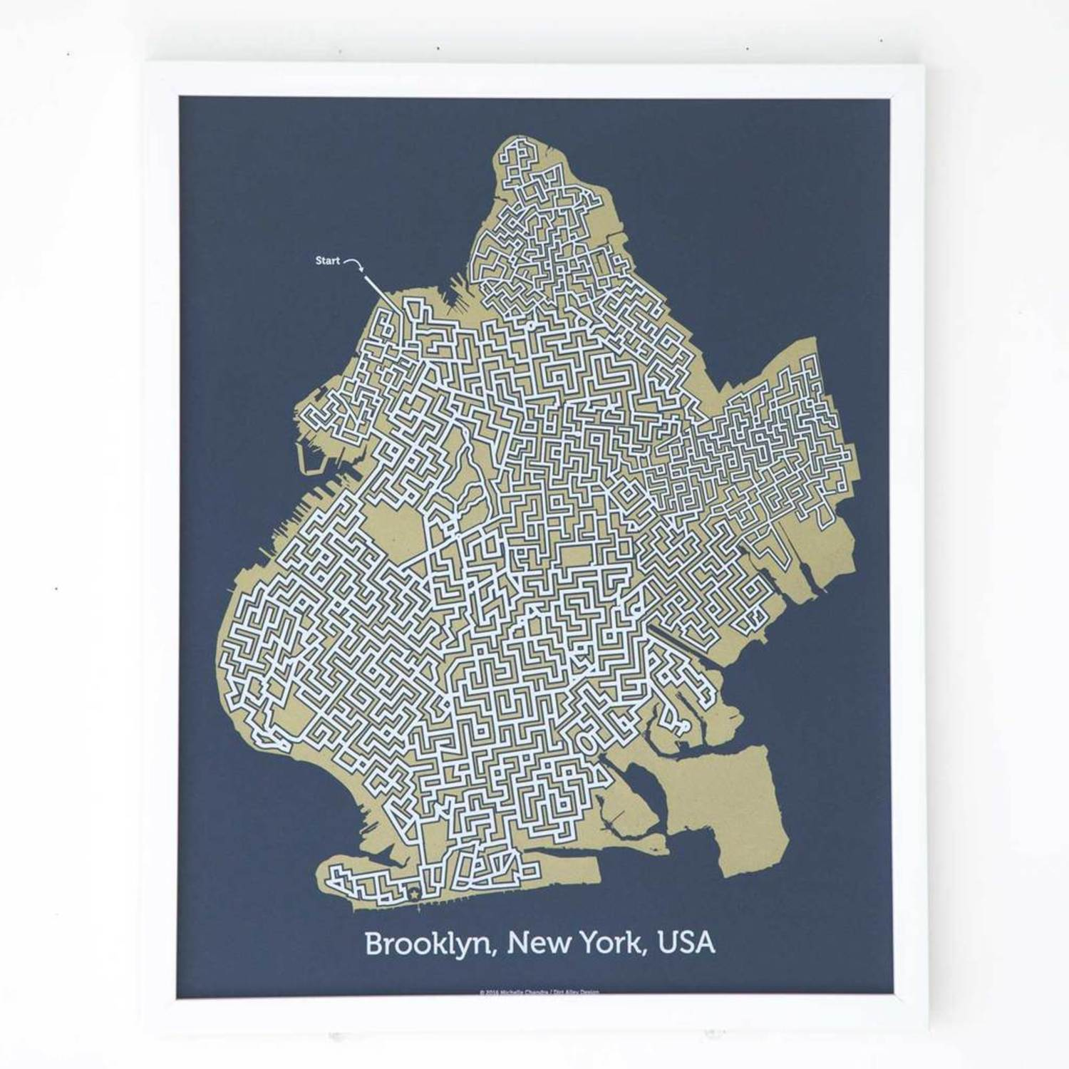 Blue Brooklyn City Map Poster