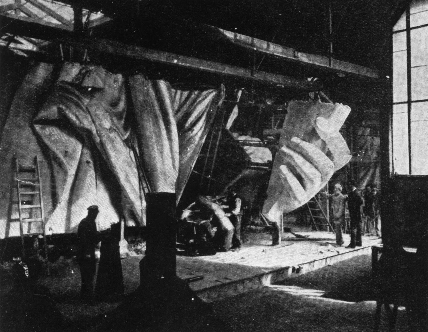 The left hand of the Statue of Liberty under construction, circa 1884.